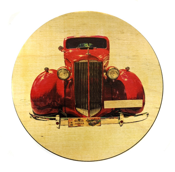 """Red Roadster"" ResoDisk Box Topper for Cigar Box Guitars"