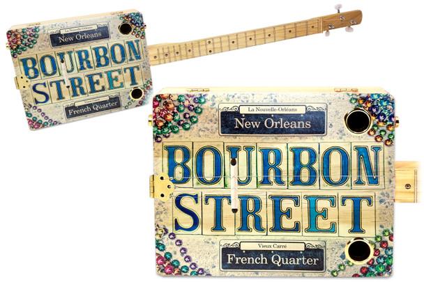 """Bourbon Street"" 3-string Illustrated Cigar Box Guitar - Featuring an Original New Orleans-themed  Design!"