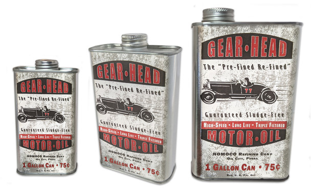 Gear Head Motor Oil Can - Choose Size - Great for Canjos, Resonators & More!