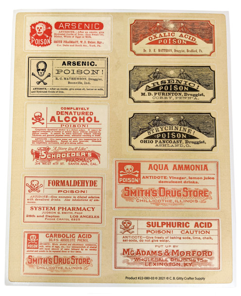 Poison Apothecary Label Decal Sheet (#2) - 10 More Vintage Poison Labels for Craft Use