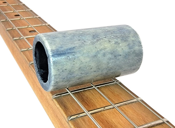 """""""Blue Ice"""" Solid Bone Pinky/Stubby Slide for Cigar Box Guitar & More"""