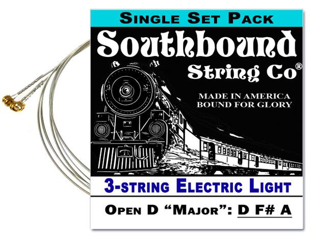 "Electric ""Light"" 3-String Cigar Box Guitar Strings - Open D Tuning - D F# A"