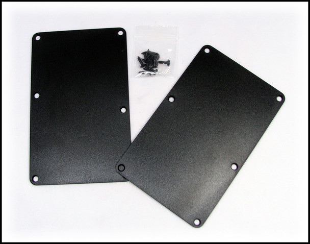 2pc. Black Plastic Cover Plates with Screws
