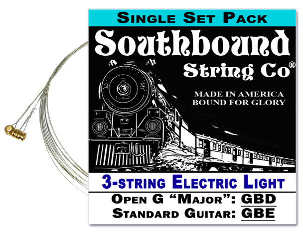 Electric Light 3-String Cigar Box Guitar Strings - Open G/Standard Tuning - GBD/GBE