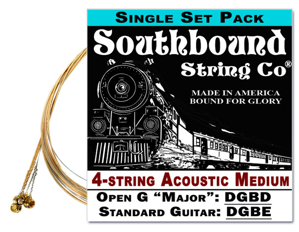 Acoustic Medium 4-String Cigar Box Guitar Strings - Open G/Standard Tuning - DGBD/DGBE