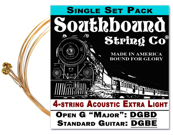 Acoustic Extra-Light 4-String Cigar Box Guitar Strings - Open G/Open D/Standard Tuning - DBGD/DF#AD/DGBE