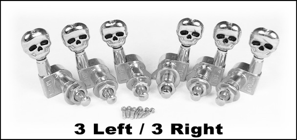 Chrome Skull Sealed-Gear Guitar Tuners/Machine Heads - 6pc. 3 left/3 right