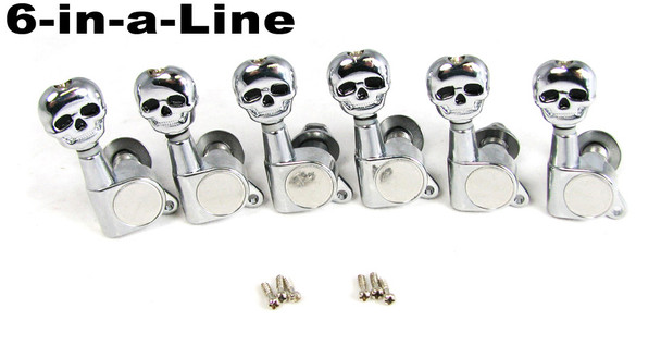 Chrome Skull Sealed-Gear Guitar Tuners/Machine Heads - 6pc. Inline Right-aligned