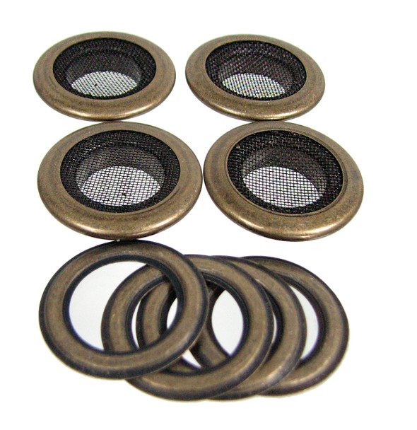 4pc 1-inch Antique Brass Screened Grommets