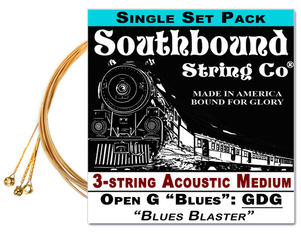 "Acoustic Medium ""Blues Blaster"" 3-String Cigar Box Guitar Strings - Low Open G - GDG"
