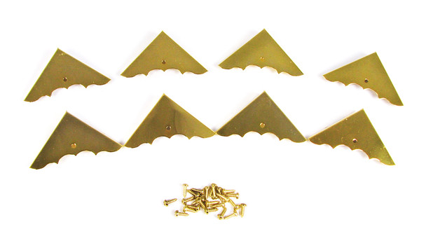 8pc. Shiny Gold Box Corners with Screws