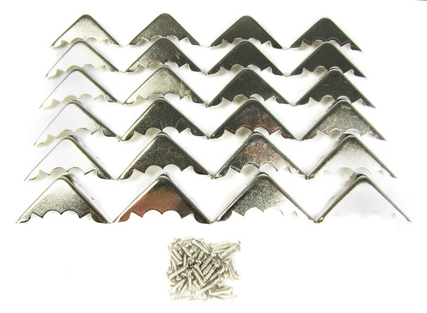 24-pack Shiny Nickel Box Corners with Screws