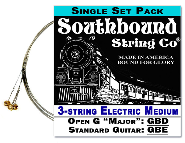 "Electric ""Medium"" 3-String Cigar Box Guitar Strings - Open G - GBD/GBE"