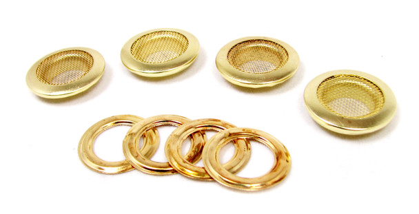 4pc 1-inch Shiny Brass Screened Grommets