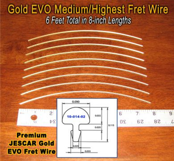 Jescar Medium/Highest GOLD EVO Fret Wire (6 ft)