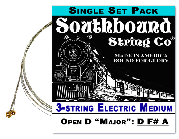 "Electric ""Medium"" 3-String Cigar Box Guitar Strings - Open D - D F# A"