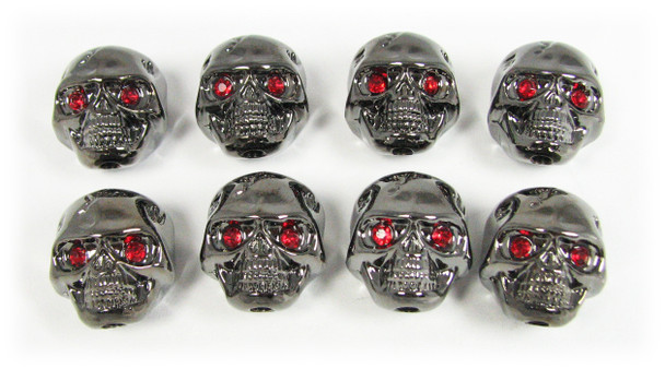 Voodoo Skull Knobs - Set of 8 -  Darkened Chrome w/ jewel eyes