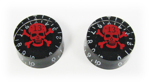 "Outlaw Skull Speed Knobs - Matching Pair - Red Skull ""13"" on Black"