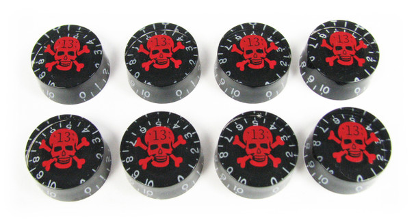 "Outlaw Skull Speed Knobs - Set of 8 - Red Skull ""13"" on Black"