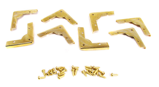 8pc. Low-Profile Brass-plated Box Corners