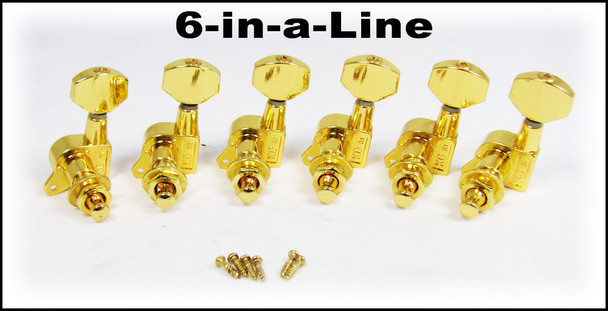 Gold Sealed-Gear Guitar Tuners/Machine Heads -  6pc. Inline Right-aligned