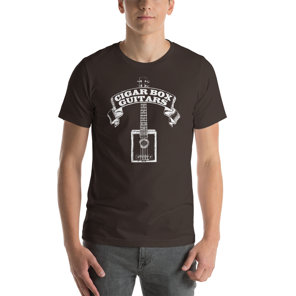 Cigar Box Guitars premium T-shirt (white printing on dark)