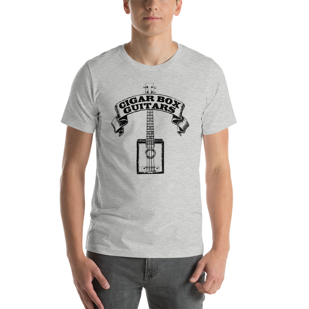 Cigar Box Guitars premium T-shirt (black printing on light)