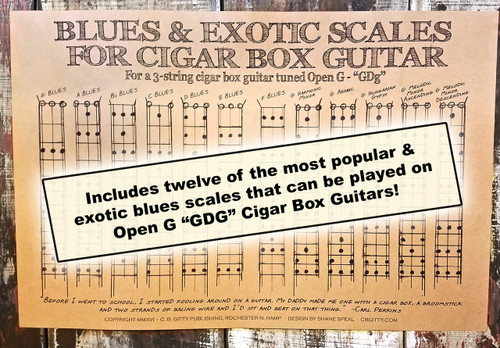 Blues Scales Poster for 3-string Open G GDG Cigar Box Guitar - includes 12  standard & exotic scales!
