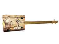 """The Moonshiner"" 3-string Illustrated Cigar Box Guitar - Beautiful Original Design"