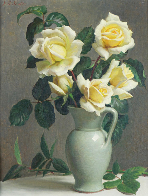 'Yellow Roses in a Jug' by John Bullock Souter