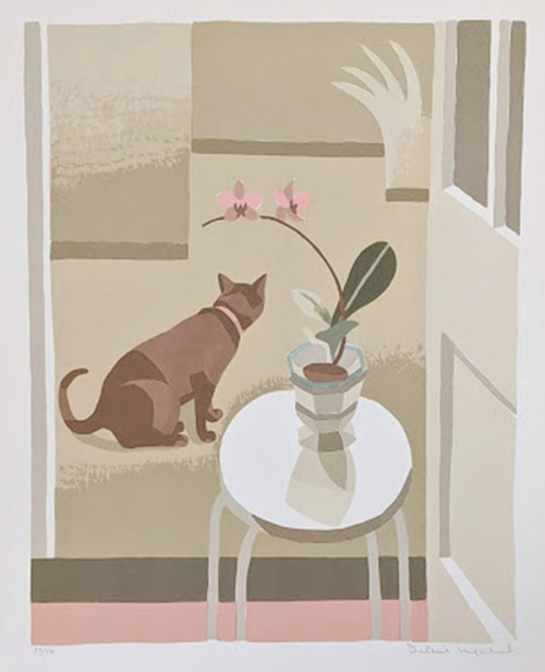 'Interior with Cat'by Debbie Urquhart - Signed limited edition lithograph