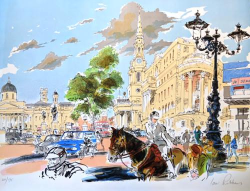 Untitled Lithograph by Ian Ribbons depicting Trafalgar Square, London