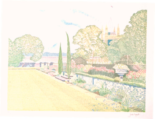 'Lambeth Palace Garden' by Jane Tippett - Signed limited edition lithograph
