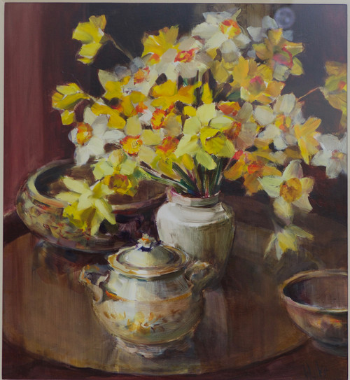 'Bright Daffodils and a Bowl'