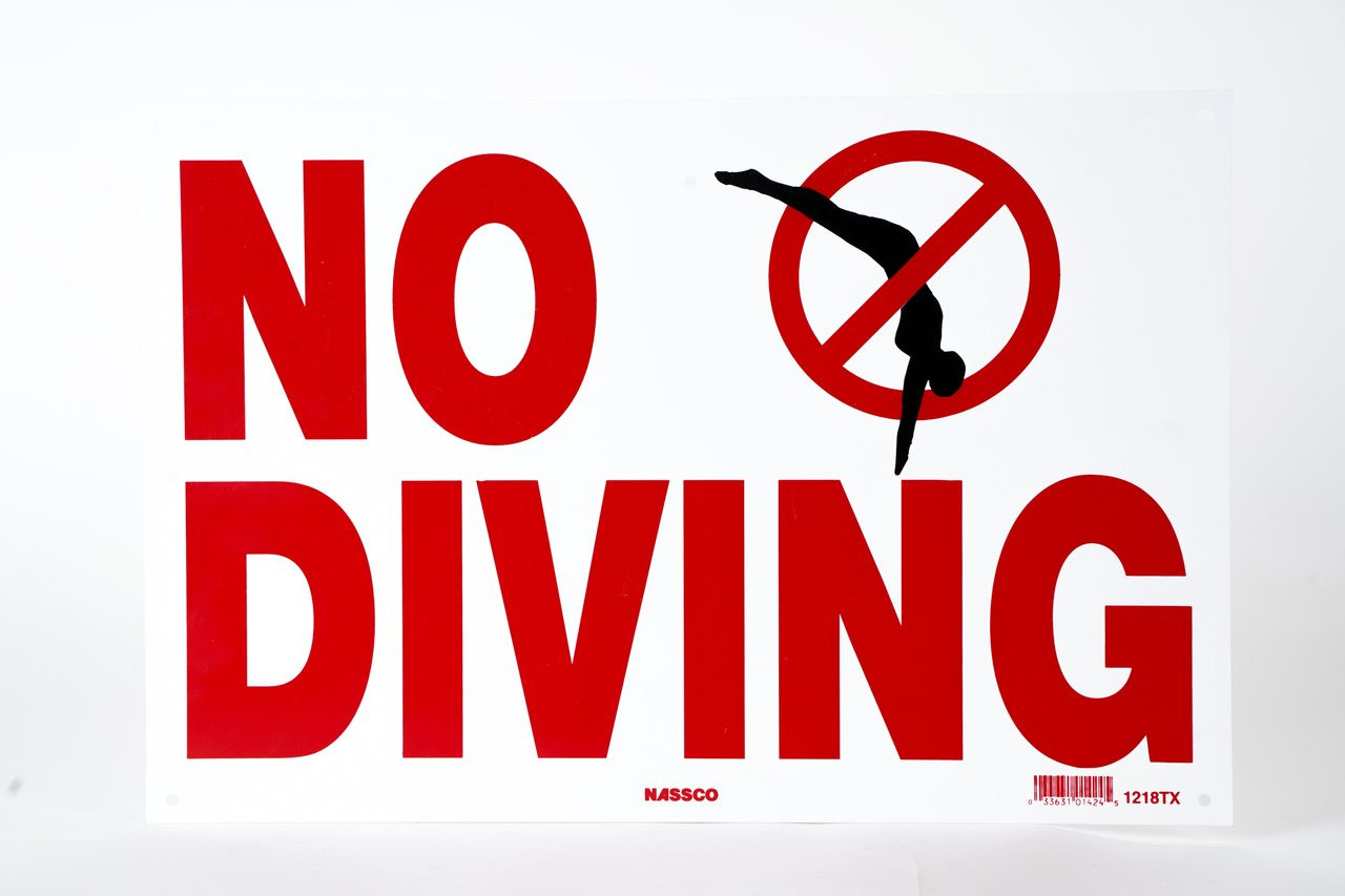 Sign No Diving With International Symbol