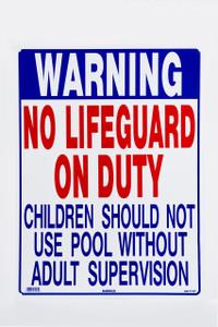 Sign No Lifeguard Pool