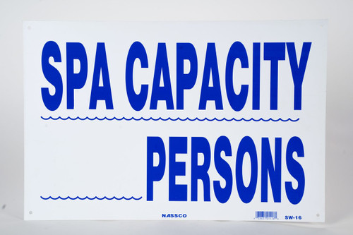 "Sign Spa Capacity Persons12""x18"""