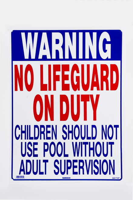 Sign No Lifeguard Pool