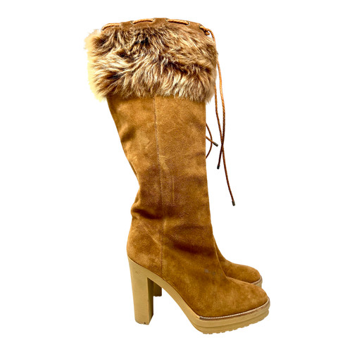 Ralph Lauren High Heeled Fur-Lined Boots- Right