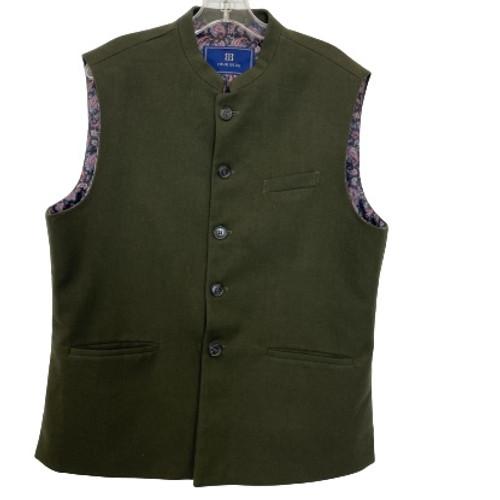 True Blue Stand Collar Waistcoat-Thumbnail
