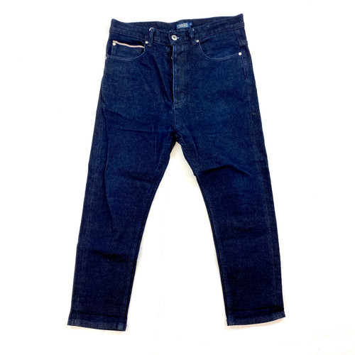 The New Standard Edition Dark Wash Button Fly Jeans- Front