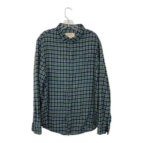 Small Check Plaid Flannel Shirt-Front