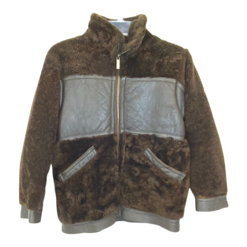 Shearling and Leather Aviator Jacket-Front
