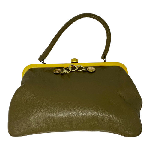 Vintage Top Handle Frame Bag with Chain-Front
