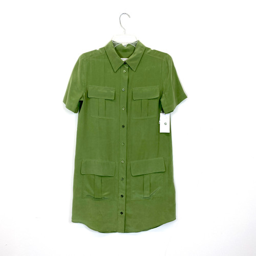 Equipment Silk Safari Shirt Dress- Front
