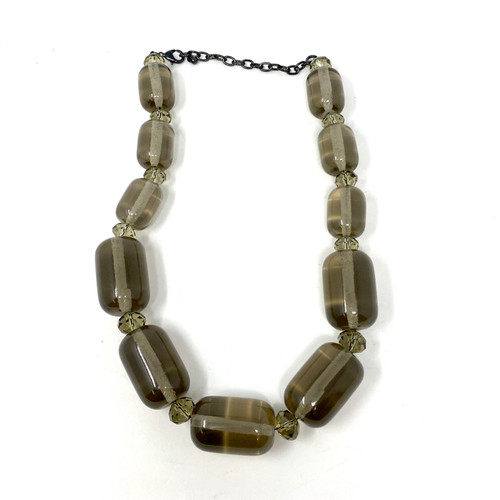 Smokey Beaded Statement Necklace- Front