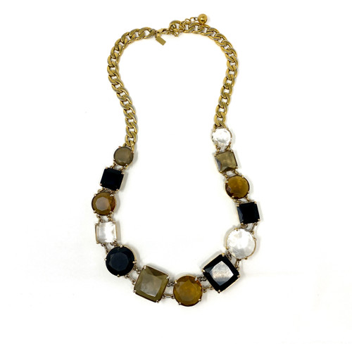 Faceted Rhinestone Statement Necklace- Front