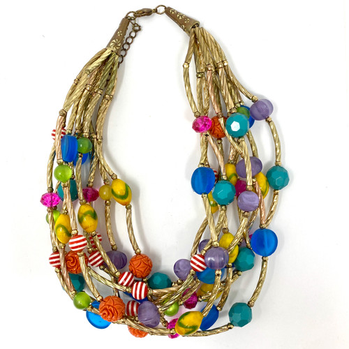 Candy-Colored Beaded Necklace- Front