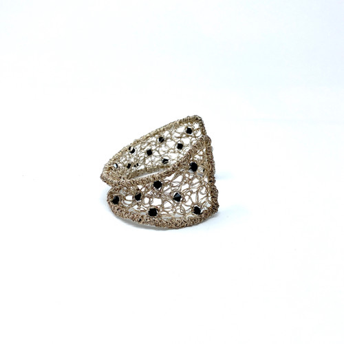 Wire and Bead Woven Cuff- Side