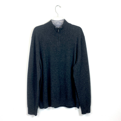 Black Brown Cashmere Half-Zip Pullover- Front